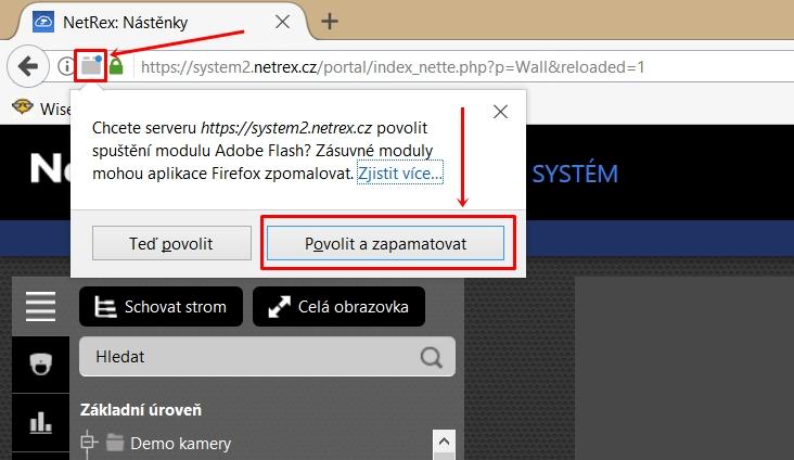 povolení zásuvného modulu flash v prohlížeči Firefox